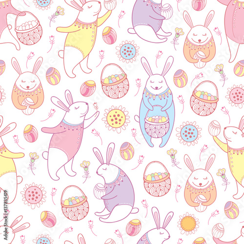 Materiał do szycia Vector seamless pattern with outline Easter rabbits, egg, basket and flowers in pastel colors on the white background. Cute cartoon bunny and eggs in contour style for holiday Happy Easter design.