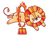 Lion jumping through a flaming ring. Circus lion jumping through a flaming ring. Cute vector illustration.