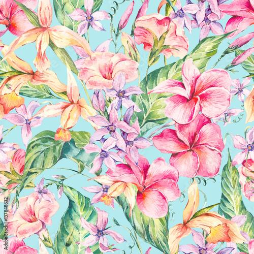 Fototapeta Watercolor floral tropical seamless pattern.