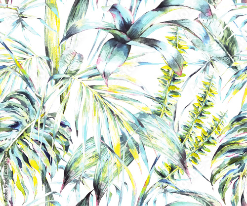 Natural leaves exotic watercolor seamless pattern