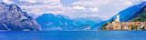 Beautiful scenery of Lago di Garda with view of Malcesine town. Italy