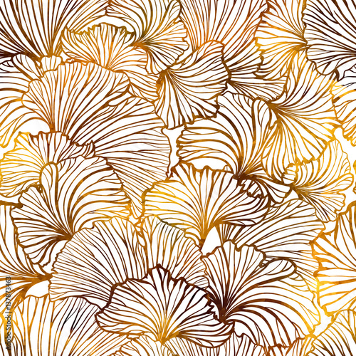 Cotton fabric Ginkgo leaves autumn seamless pattern