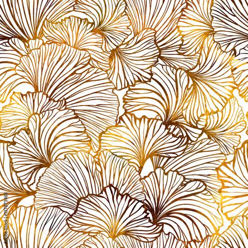 Cotton fabric Ginkgo leaves autumn seamless pattern