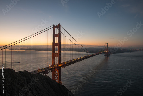 Poster Golden Gate Bridge Taken from Battery Spencer During Sunrise in San Francisco, C