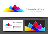 Mountains Corporate Logo and business card sign template. Creative design with colorful logotype visual identity composition made of multicolored element. Vector illustration