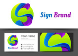 s letter Corporate Logo and business card sign template. Creative design with colorful logotype visual identity composition made of multicolored element. Vector illustration