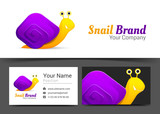 Snail Corporate Logo and business card sign template. Creative design with colorful logotype business visual identity composition made of multicolored element. Vector illustration
