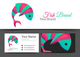 Fish Corporate Logo and business card sign template. Creative design with colorful logotype business visual identity composition made of multicolored element. Vector illustration