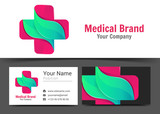Medical Pharmacy Corporate Logo and business card sign template. Creative design with colorful logotype visual identity composition made of multicolored element. Vector illustration