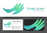 Corporate Logo and business card hand sign template. Creative design with colorful logotype business visual identity composition made of multicolored element. Vector illustration