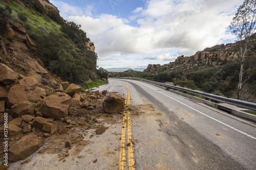 Storm related landslide blocking Santa Susana Pass Road in Los Angeles, California.