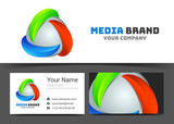 Abstract colored Corporate Logo and business card sign template. Creative design with colorful logotype visual identity composition made of multicolored element. Vector illustration