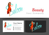 Beauty Women Saloon Corporate Logo and Business Card Sign Template. Creative Design with Colorful Logotype Visual Identity Composition Made of Multicolored Element. Vector Illustration