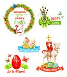 Easter holiday wishes cartoon emblem set
