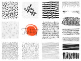 Set of scribble textures and abstract design elements. Vector illustration.