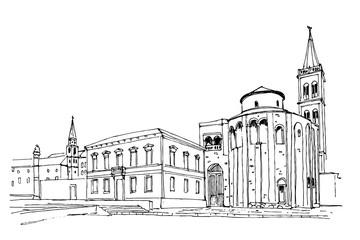Vector sketch of church of St. Donat on the roman forum, Zadar, Croatia
