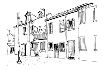 Vector sketch of architecture of Burano island, Venice, Italy.