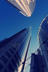 Three Corporate office buildings city Filter Blue Copyspace.