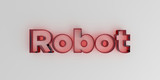 Robot - Red glass text on white background - 3D rendered royalty free stock image.