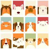 Set of banners with cute dogs