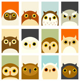 Set of banners with cute owls