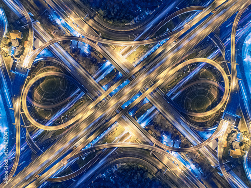 Road beautiful Aerial View of Busy Intersection at Night , top view