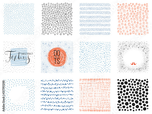 Zestaw streszczenie tło kwadratowych i szkic kropki tekstury. Ilustracji wektorowych.