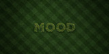 MOOD - fresh Grass letters with flowers and dandelions - 3D rendered royalty free stock image. Can be used for online banner ads and direct mailers..