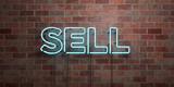 SELL - fluorescent Neon tube Sign on brickwork - Front view - 3D rendered royalty free stock picture. Can be used for online banner ads and direct mailers..