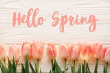 Fototapety hello spring text sign, beautiful pink tulips on white rustic wooden background flat lay. flowers in soft morning sunlight with space for text. greeting card concept