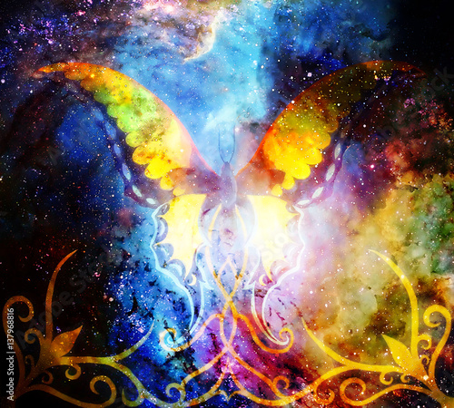 butterfly with ornament in cosmic space. Painting and graphic design.