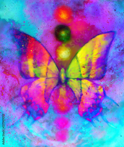 butterfly with light energetic chakras in cosmic space. Painting and graphic design.