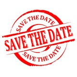 Damaged round red stamp with the word - save the date - Vector eps