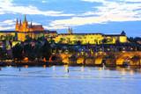 View of Prague Castle and Charles Bridge in Prague, Czech Republic, Europe