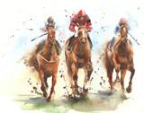 Fototapeta Fototapety z końmi - Horse racing race riding sport jockeys competition horses running watercolor painting illustration  © Yulia