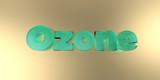 Ozone - colorful glass text on vibrant background - 3D rendered royalty free stock image.
