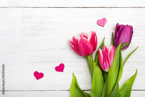 Tulip bouquet on white wooden background, copy space Poster