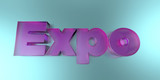 Expo - colorful glass text on vibrant background - 3D rendered royalty free stock image.
