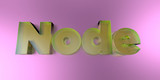 Node - colorful glass text on vibrant background - 3D rendered royalty free stock image.