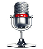 3D rendering of a microphone with a live icon - 137984448