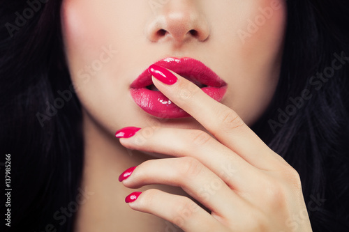 Woman Touching her Lips her Hand with Manicure Плакат