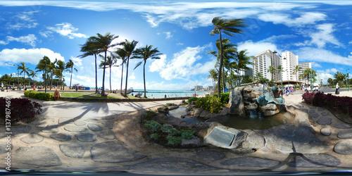 Poster 360 vr image of Waikiki Beach Hawaii,USA