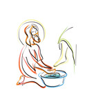 Washing of feet - Jesus Christ washing the feet of the apostles. Abstract artistic modern religious christian illustration