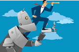 Giant robot holding a businessman with a telescope, helping him to look further ahead, EPS 8 vector illustration