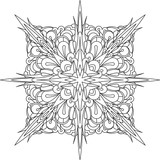 Abstract vector black square lace design in mono line style - mandala, ethnic decorative element. Can be used as anti stress therapy.
