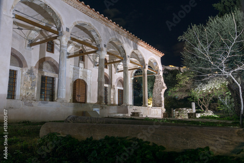 Night photo of Fethiye Mosque inAthens, Attica, Greece