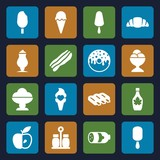 Set of 16 tasty filled icons