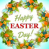 Easter egg and spring flower wreath greeting card