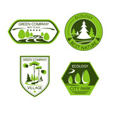 Green nature ecology company vector icons set