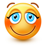 Cute blushing-face emoticon or 3d smiley emoji with embarassed eyes, flushed red cheeks and smiling mouth.